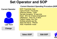 Screen shot: Set Operator and SOP