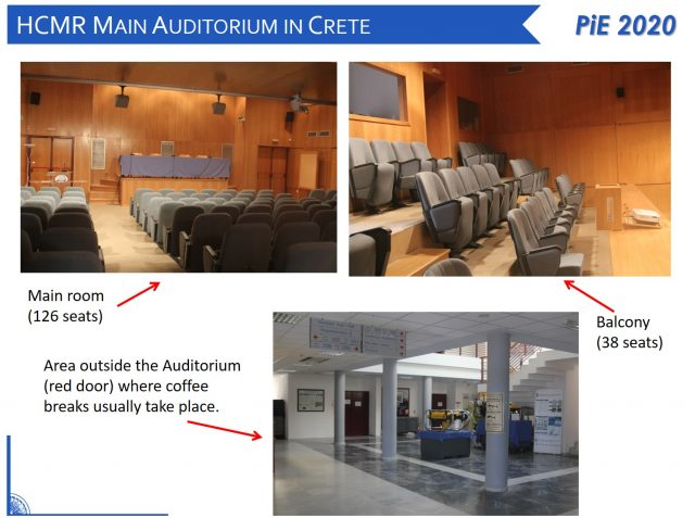 Photos of the main HCMR auditorium in Crete